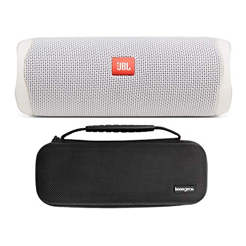 JBL Flip 5 Portable Waterproof Bluetooth Speaker (White) with Knox Gear Hardshell Travel and Protective Case Bundle (2 Items)