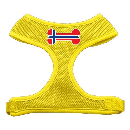 Mirage botten vlag Noorwegen Screen Print zacht mesh-hondenharnas, Large, geel