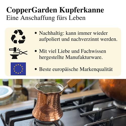 Copper Garden Mokkakanne aus Kupfer I Ibrik aus lebensmittelecht verzinntem Kupfer mit Holzgriff I Mittelgroße Kupferkanne zum Milchaufwärmen (für Kaffee) oder zum echten Mokka Kochen - 7