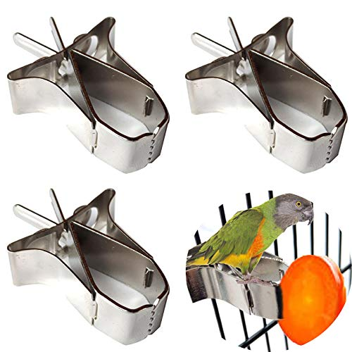 Comedero de Pájaros,3 Pcs Aves Comida Titular Loro Fruta Vegetal Clip Alimentador Dispositivo Pinza Abrazadera Accesorios Jaula de Pájaros para Pájaros Pequeños Loros Hámsters y Otros Animale Pequeño