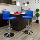 Flash Furniture 2 Pk. Contemporary Blue Vinyl Adjustable Height Barstool with Rolled Seat and Chrome Base
