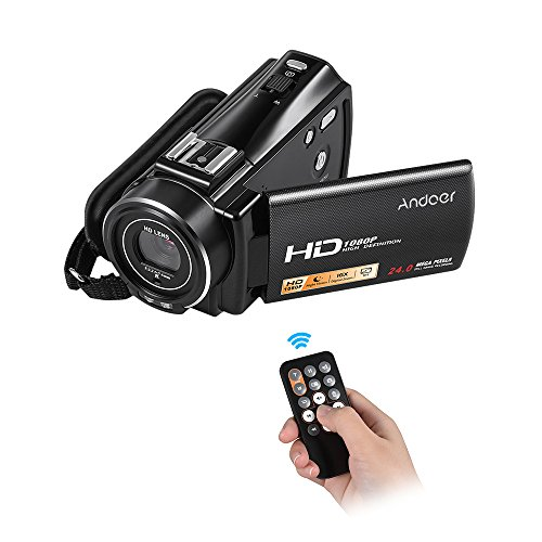 """Andoer HDV-V7 Plus 1080P Full HD 24MP Portable Digital Video Camera Camcorder Remote Control Infrared Night Vision Recorder 16X Zoom 3.0"""" Rotary LCD with Hot Shoe Mount"""