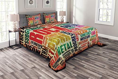ABAKUHAUS Musik Tagesdecke Set, Musik Rock n Roll Poster, Set mit Kissenbezügen farbfester Digitaldruck, für Doppelbetten 220 x 220 cm, Multi