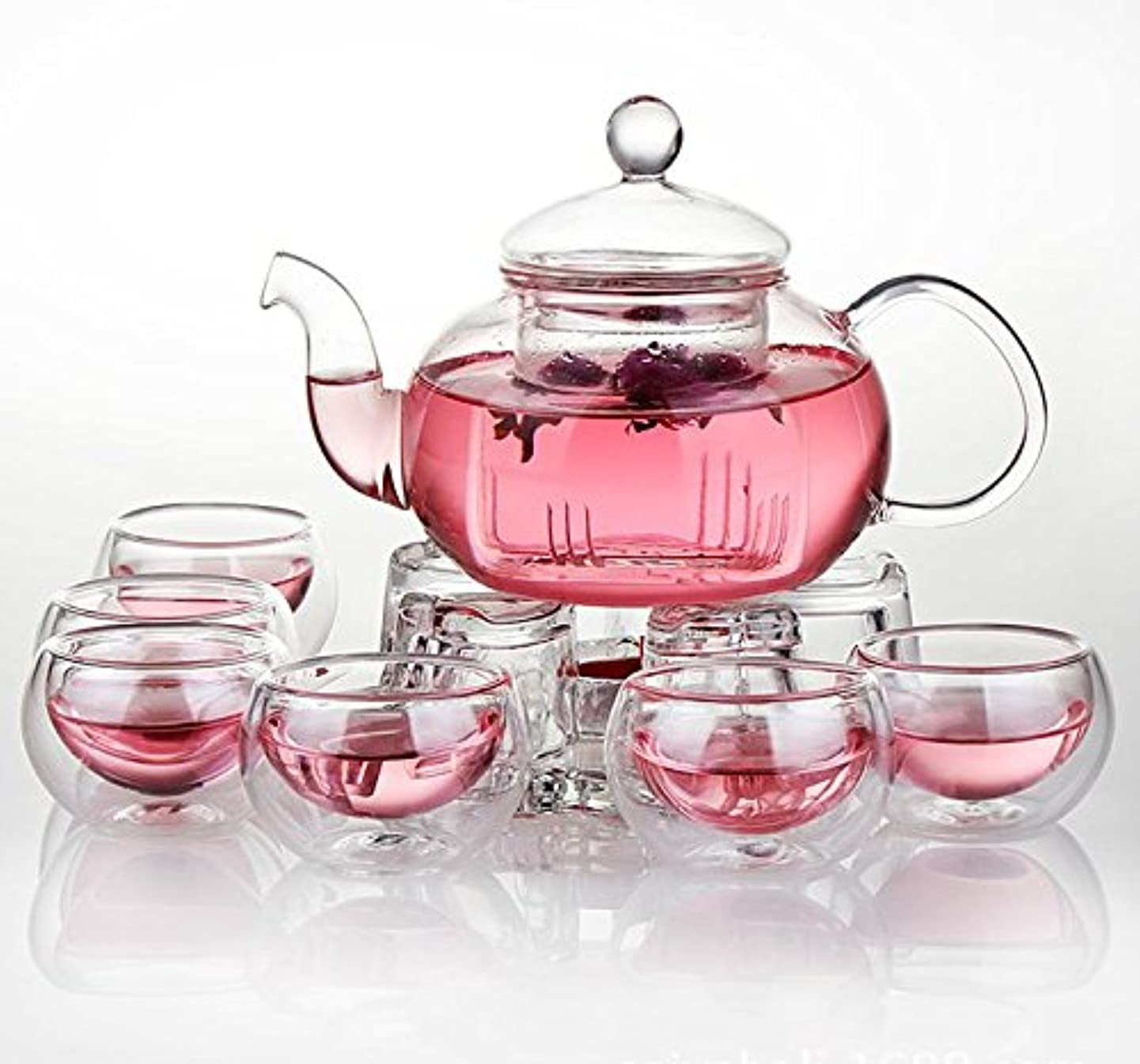 Jusalpha Glass Filtering Tea Maker Teapot with a Warmer and 6 Tea Cups Set (Version 2, 26-Oz)