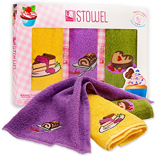 """ISTOWEL Decorative Kitchen Towels and Dishcloths Sets - 12"""" x 20"""" Cotton Terry Dish Towels for Drying Dishes and Blotting Spills - Cupcake Themed Embroidery for Your Kitchen Decor"""
