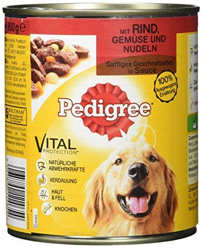 Pedigree Hundefutter Nassfutter saftiges Geschnetzeltes mit Rind, Gemüse und Nudeln in Sauce, 12 Dosen (12 x 800g)