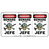 StickerDad Danger Beware of The JEFE Hard Hat Helmet Sticker (3 Pack) (Size: 2.25' x 1.5') - for Windows, Walls, Bumpers, Laptop, Lockers, etc.
