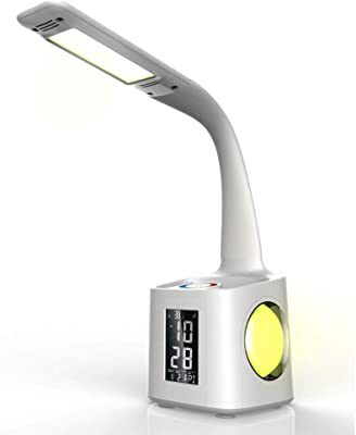 QLIGHA Lampe de Bureau LED multifonctionnelle, USB Rechargeable avec Porte-Stylo, Calendrier perpétuel et Horloge Lampe de Lecture Tactile à lumière ambiante colorée