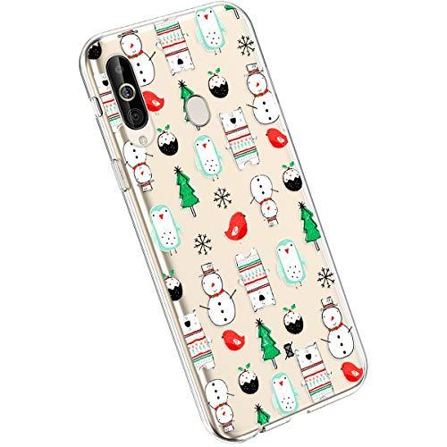 Ysimee Compatible avec Samsung Galaxy M30 Coque Transparent avec Motif Série de Christmas Etui Silicone Souple Antichoc Ultra Mince Doux Case Housse de Protection Crystal Clear Cover,Arbre et Oiseau