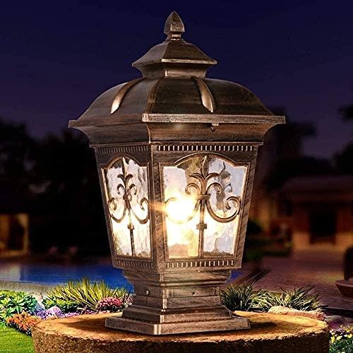 Mrdsre Lámpara De Pedestal Vintage Retro E27 Aluminio Negro Y Vidrio Paisaje Luces De Césped Linterna Lámpara De Mesa IP55 Impermeable Villa Poste De Puerta Valla Pilar...