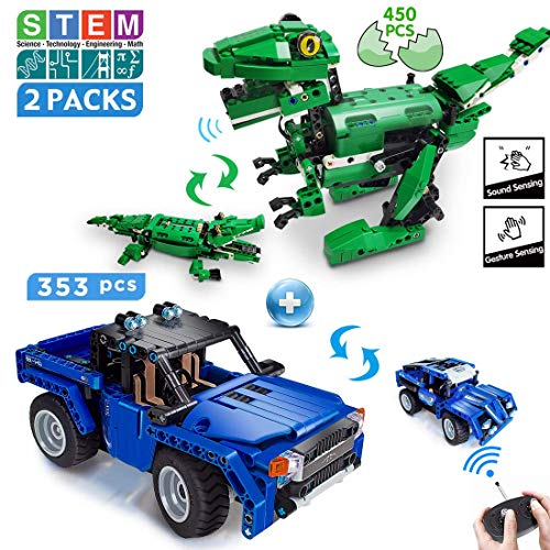 VERTOY STEM Car Building Kit Bundle with Dinosaur Buiding Set - Ideal Gift for 6-14 Years Old Boys, Value 2 Packs