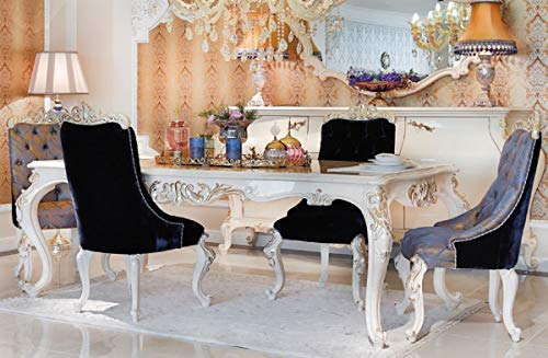 Casa Padrino Mesa de Comedor Barroco de Lujo Blanco/Oro - Mesa de Comedor de Madera Maciza Hecha a Mano - Muebles de Estilo Barroco - Noble y Pomposo