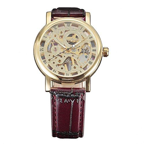 Winner - Reloj de pulsera para hombre, diseño de esqueleto hueco (cuerda manual), color dorado