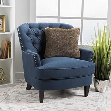 Grands Dark Blue Fabric Club Chair