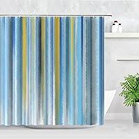 FDKL シャワーカーテン 防水シャワーカーテンブルーグラデーションカラー水彩アートモダンな家の装飾スクリーンファブリックバスルームカーテンフック付き