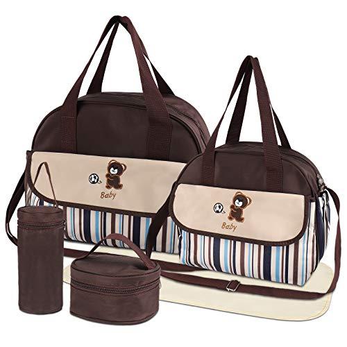 HALOVIE Set 5 kits Bolsa de Mama para Bebe Biberon Cambiador de Pañales Bolsa Hospital Maternidad Bolso Bebé para Viaje Carro Carrito Biberón Colchoneta Comida Pañal con Gran Capacidad Viaje
