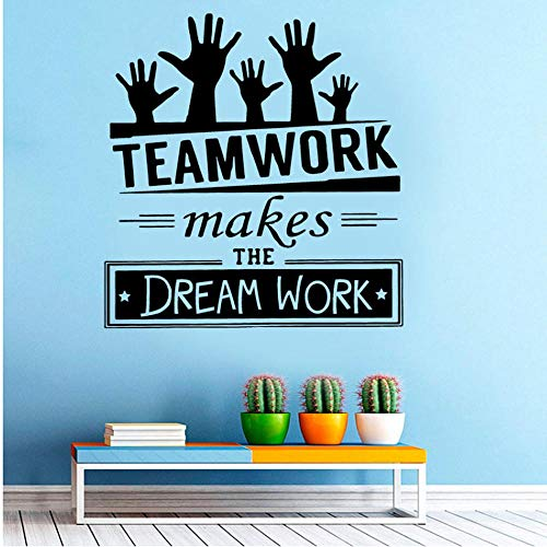 Lavoro Di Squadra Rende Il Lavoro Da Sogno Citazioni Creative Decal Ufficio Adesivi Murali Vinyl Company Decorazione Murale Affari Murale 57Cmx69Cm