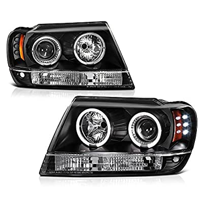 VIPMotoZ 1999-2004 Jeep Grand Cherokee Halo Headlights Headlamps, Driver and Passenger Side