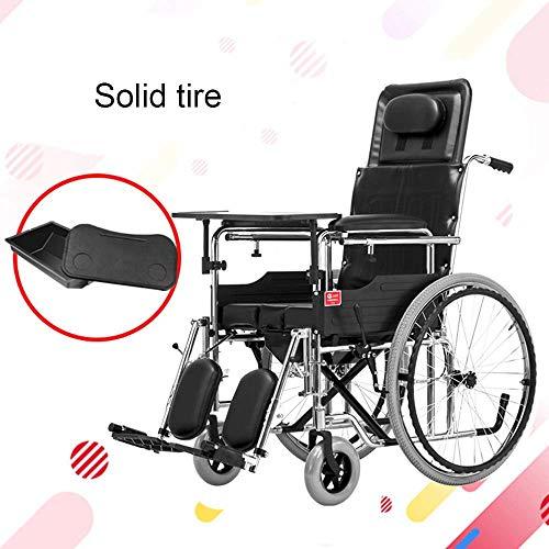 ZLL Medizinischer Rehabilitationsstuhl, Rollstuhl, Rollstühle 29Kg Faltbarer Rollstuhl Ergonomische Erweiterte Komfortable Armlehne Verstellbare Rückenlehnen Beine 130Kg Tragkraft 45 * 46Cm Sitzschal