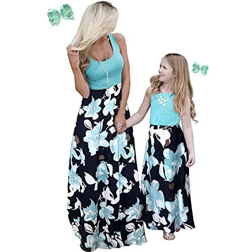 Coralup Mutter Tochter Kleid, Sommer Rundhals Ärmellose Kleider A Linie Strandkleid Partykleid Blaue Blume Stitching MaxiKleid (Farbe: für Mädchen, Größe: 3-4 Jahre)