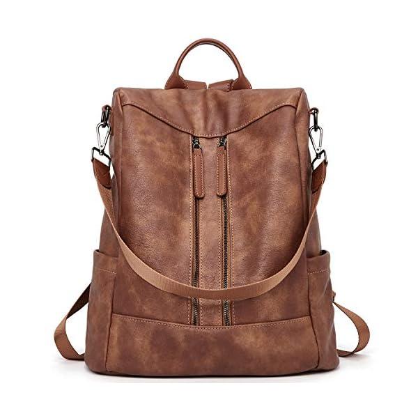 BROMEN Women Backpack Purse Leather Anti-theft Travel Backpack Fashion Shoulder Handbag 7
