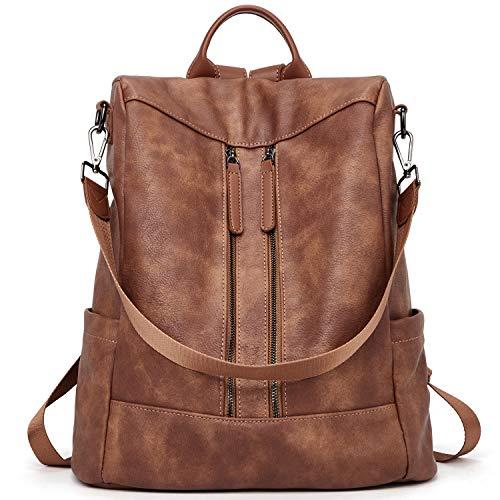 Rucksack Damen Anti Diebstahl Rucksack Damenrucksack aus Leder Rucksackhandtasche Tagesrucksack für Frauen Mädchen, Braun