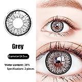 Lentes de Contacto de Cosplay, Lentes de Contacto de Color Cosplay, Cambiador de Color de Ojos, Accesorios para Maquillaje (Grey)