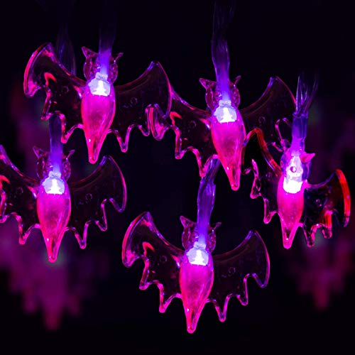 GIGALUMI Halloween String Lights, 15ft 40 Purple Bats Lights Halloween Decoration Lights with 8 Modes, Battery Powered