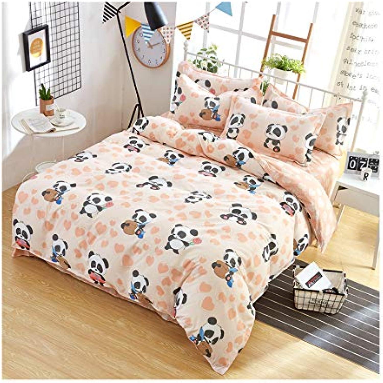 KFZ Bed SET Bedding Duvet Cover Set Flat Sheet Pillowcases 4pcs set No comforter SM Queen Sheets Set Panda Zoo Garden Sweet Strawberry Animal Fruit Design Kids Adults (Panda Zoo, Pink, Queen, 79 x91 )