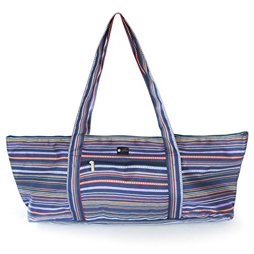 Aurorae Yoga Mat Tote Bag, Extra Wide to Fit Most Yoga Mats and Accessories, in Navy Coated Woven Multicolor Pattern