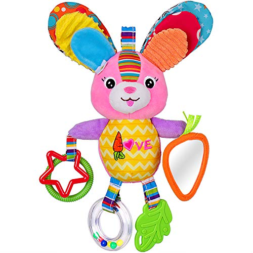Rolimate Baby Spielzeug, Hochwertiges Kleinkindspielzeug Plüschrassel mit Ringen zum Beißen, Greifen und Knistern- Papier, Spiegel für Babys Kleinkinder - ab 0 Monat ( Hase )