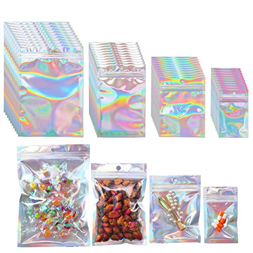 Beilecy 120 Pcs Smell Proof Bags Resealable Foil Pouch with Window and Euro Hang Hole Odorless Mylar Bags Heat Seal Pouch Food Safe Storage Airtight Ziplock Holographic laser silver4 Size