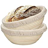 Lopbinte 2 Packs 9 Inch Bread Proofing Basket - Baking Dough Bowl Gifts for Bakers Proving Baskets for Sourdough Lame Bread Slashing Scraper Tool Starter Jar Proofing Box