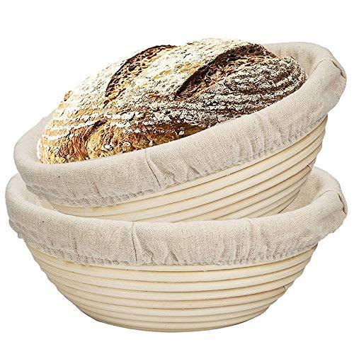 Lopbinte Paquet de 2 Paniers à Pain de 9 Pouces - Cadeaux pour Bol Pate pour Boulangers Qui Testent Paniers?pour Levain Lame Pain Grattant Grattoir Outil DéMarreur Pot Bo?Te D'éPreuvage