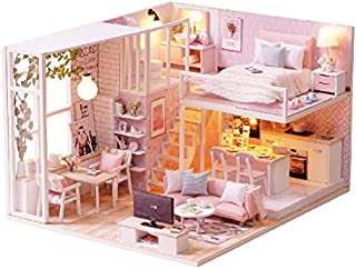 DIY Wooden Dollhouse Handmade Miniature Kit- Leisurely Time Pink Room Model & Furniture