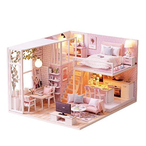 Cuteroom DIY Madera Dollhouse Hecho a Mano en Miniatura Kit – Leisurely Time Rosa Modelo de Habitación y Muebles