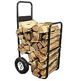 Sunnydaze Firewood Log Cart Carrier - Outdoor or Indoor Black Steel Wood Rack...