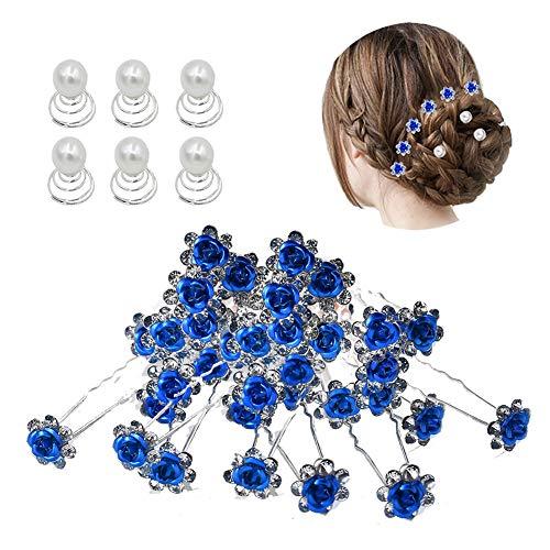 inSowni 40pcs Bridal Wedding Rhinestone Rose Flower U-shaped Hair Pins & 6pcs Twist Pearl Hairpins Headpiece Set in Gift Box for Women Girls Bridesmaid (Royal Blue Set)