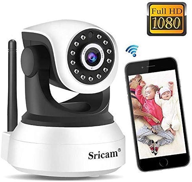 Cámara de Vigilancia WiFi Sricam SP017 Cámara IP 1080P Bebe Interior HD Inalámbrico con Visión Nocturna Audio Bidireccional Detección de Movimiento Compatible con iOS Android Windows PC