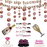 CrzPai Rose Gold Bachelorette Party Decorations Glitter Bunting Banner Champagne Gold Paper Circle Dots Garland Photo Booth Props for Bridal Shower Wedding Engagement Party Backdrop Hanging Decor