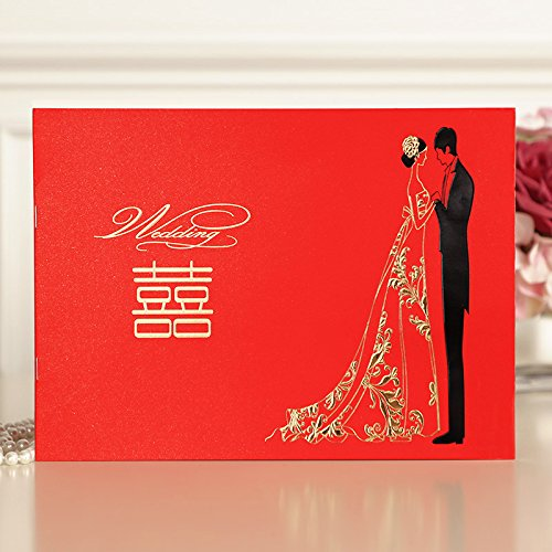 Chinese Style Wedding Guest Book, Rectangle Guest Signing Paper Notebook with a Gold Signing Pen from Hoocozi, 1Pce, Red