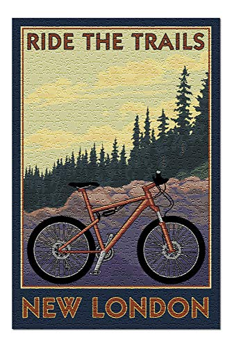 New London, Connecticut - Ride The Trails - Mountain Bike Scene 103120 (Premium 500 Piece Jigsaw Puzzle for Adults, 13x19)