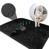 Unipampa Cat Litter Mat Estera, Arena Gato Alfombra, Basura Impermeable Trapping Mat Alfombra para Mascotas, Recogedor de Arena Gato, Doble Capa Fácil de Limpiar, 45x60cm