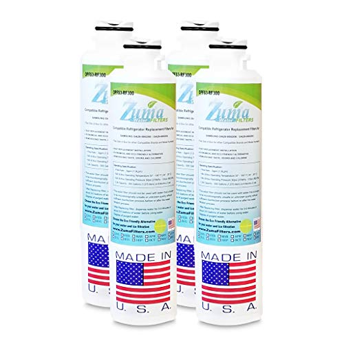 (4 Pack)Samsung 46-9101 Compatible Refrigerator Water and Ice Filter by Zuma Water Filters (OPFS3)