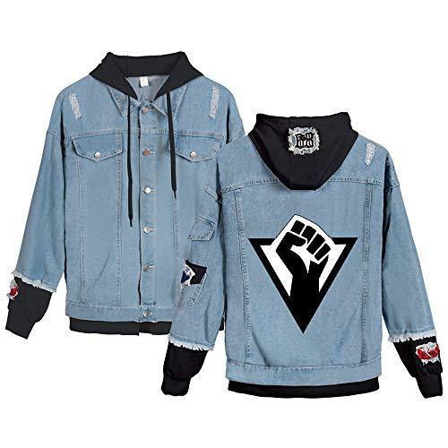 Haililais Detroit Become Human Felpa Splice falsificazione Due Parti di Modo del Cappotto con i Pulsanti Handsome Retro Cappuccio Tenere in Caldo Giacca di Jeans Detroit Become Human Pullover