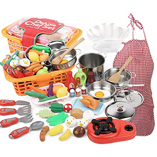 42 Pcs Play Kitchen Toys Food Set, Kitchen Pretend Cookware Play Toys for Toddlers Kids with Stainless Steel Cookware Pots & Pans, Apron & Chef Hat, Cooking Utensils, Play Food Toy Set
