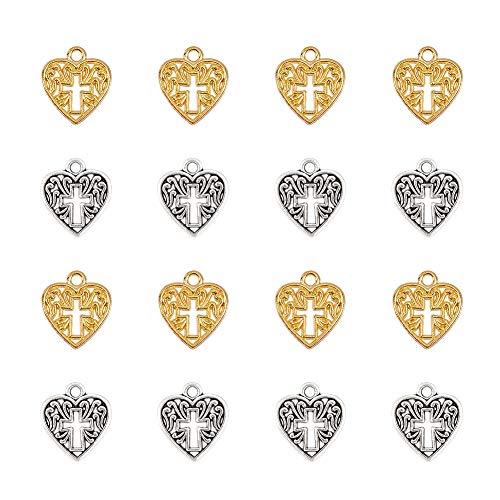 PandaHall 80pcs Alliage Coeur Croix Breloque, Argent/Or Creux Belles Charmes en Métal Pendentifs en Vrac pour Collier Bracelet Boucle d'oreille Fabrication de Bijoux