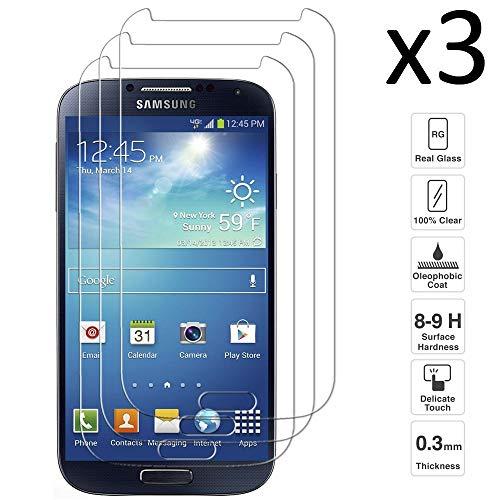 iGlobalmarket [3 Unidades Protector de Pantalla Samsung Galaxy S4, Vidrio Templado, sin Burbujas, Alta Definicion, 9H Dureza, Resistente a Arañazos