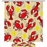 TIKISMILE - Juego de cortinas de ducha con alfombrilla antideslizante de 23.6 x 15.7 cm, con 12 ganchos para baño, diseño de langosta y cangrejo con limón impermeable y limón