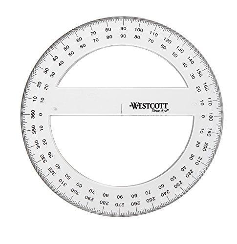 Westcott E-10136 00 Winkelmesser Vollkreis Kunststoff, 15 cm, transparent